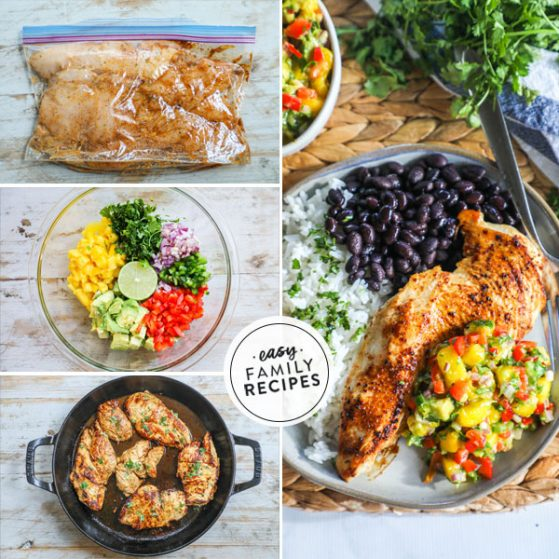 Step by step for making chicken with mango salsa - 1. Season and marinate chicken breast 2. mix mango salsa 3. Cook chicken 4. Plate chicken with mango salsa
