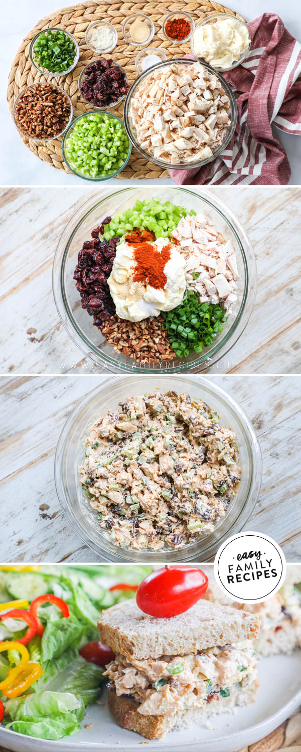 Process photos for how to make creamy cranberry pecan chicken salad 1. Gather ingredients 2. Combine chicken, mayo, veggies, nuts and seasonings, 3. Stir together and chill.
