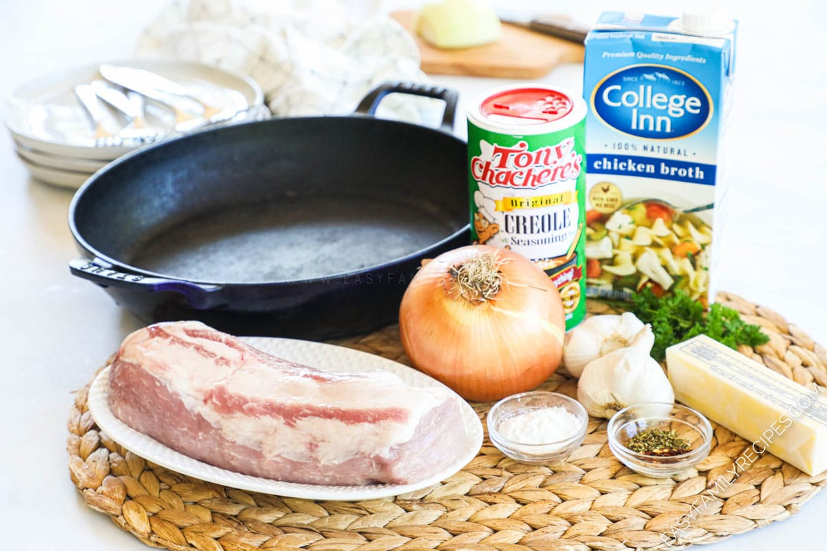 Ingredients for making Pork Tenderloin with garlic sauce