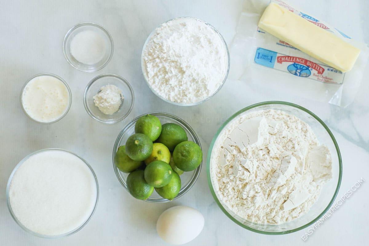 Ingredients for making key lime cookies