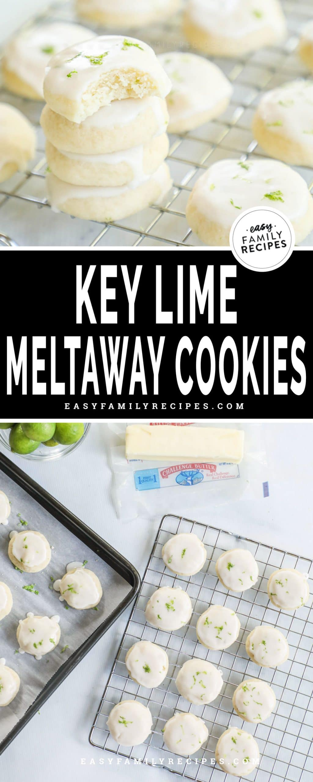 Soft Key Lime Cookie with a bite out of it and key lime cookies cooling on a baking rack.