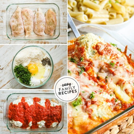 Step by step for making Lasagna Chicken Bake - 1. Season chicken and lay in casserole dish. 2. Mix ricotta with egg, parsley and parmesan. 3. Layer on chicken and cover in red sauce and cheese. 4. Bake until bubbly.