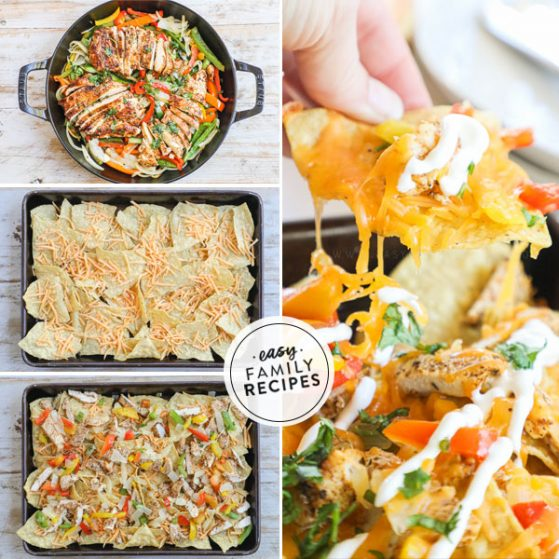 Step by step for making chicken fajita nachos 1.) prepare chicken fajita meat, 2. spread chips on a sheet pan. 3. Layer on cheese, chicken, peppers and onion. 4. Bake and top with pico de gallo, sour cream, and guacamole