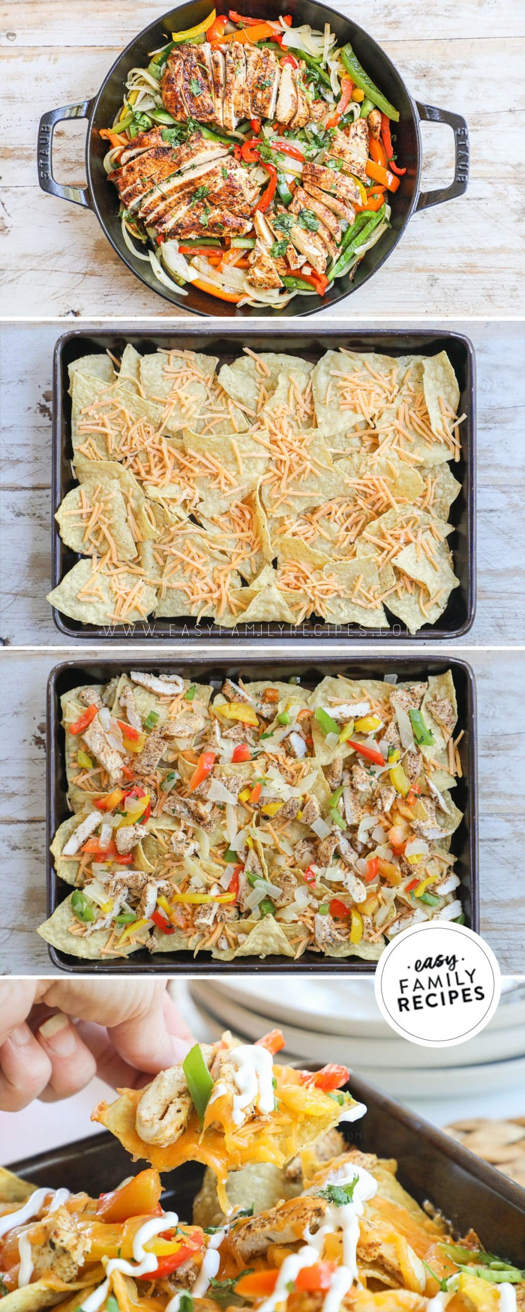 Process photos for how to make chicken fajita nachos 1.) prepare chicken fajita meat, 2. spread chips on a sheet pan. 3. Layer on cheese, chicken, peppers and onion. 4. Bake and top with pico de gallo, sour cream, and guacamole