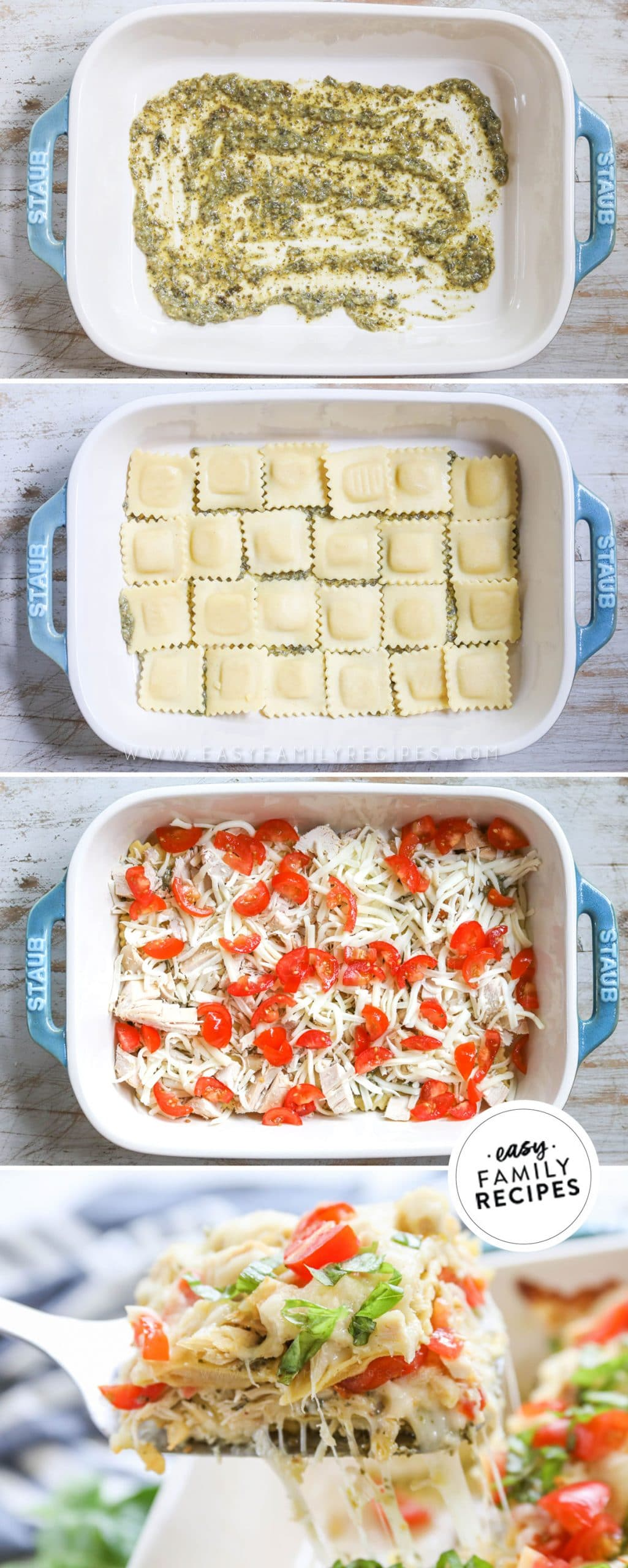 How to make Chicken Ravioli Bake - 1. Spread pesto on the bottom of a baking dish. 2. Layer refrigerated ravioli in the dish. 3. Cover with chicken, pesto, cheese, and tomatoes. repeat. 4. Bake until the casserole is hot throughout