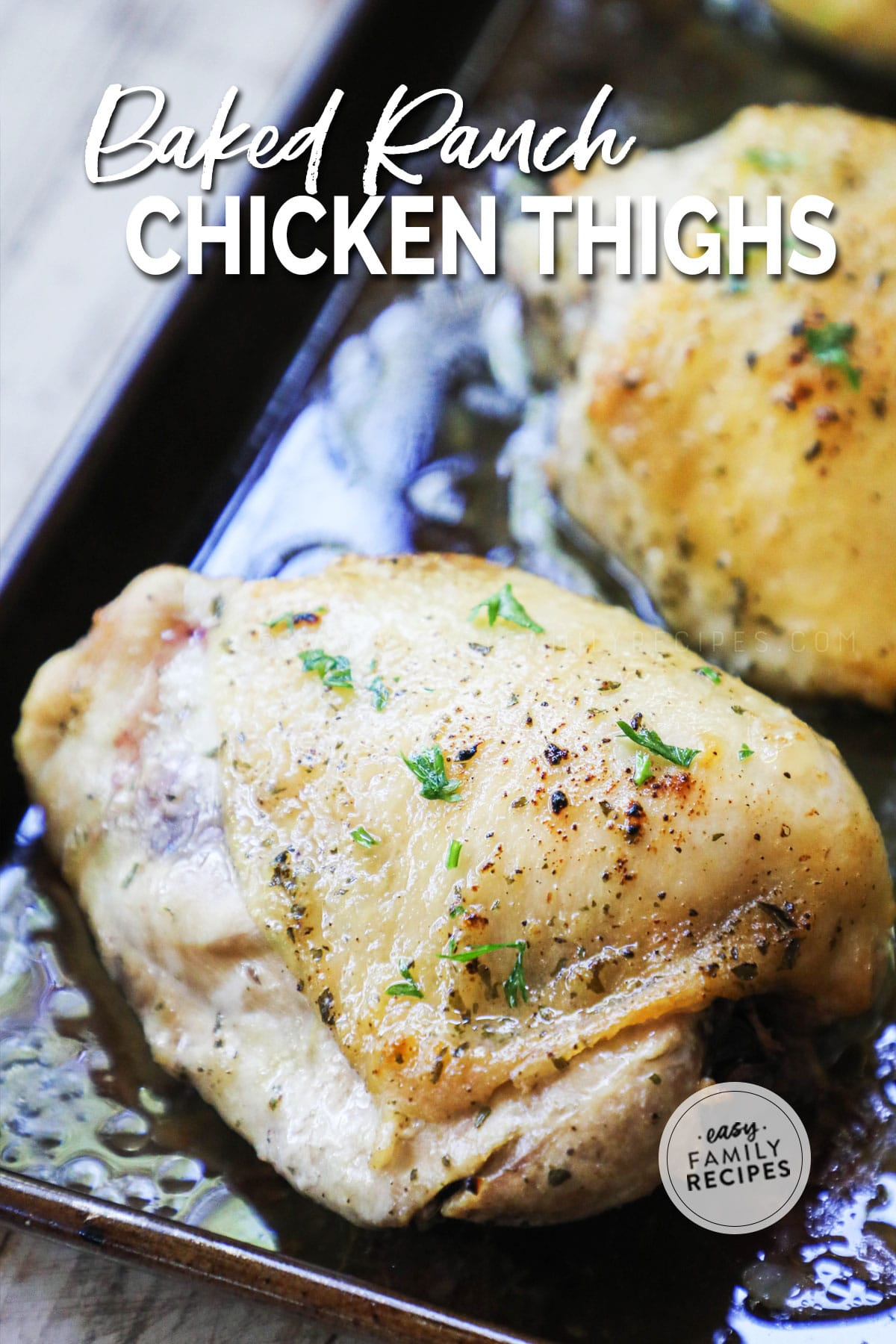Roasted chicken thighs with hidden valley ranch mix