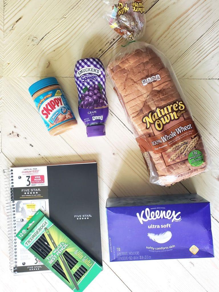 School Supply Bundle including notebook, pencils, bread, peanut butter, Jelly