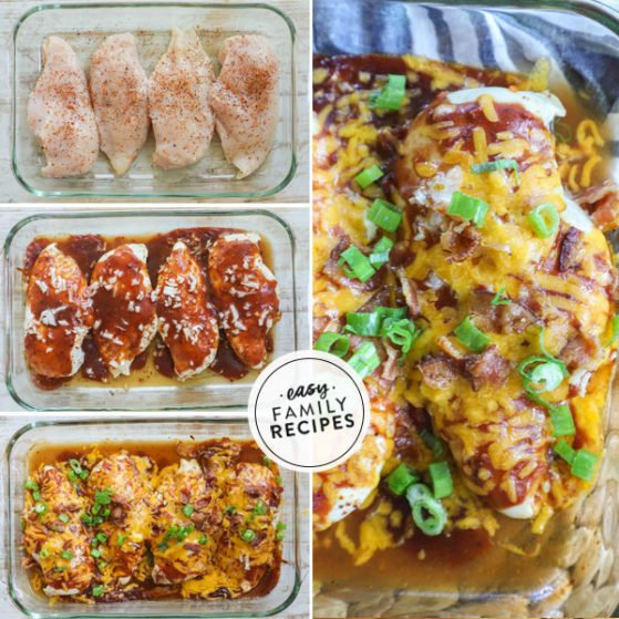 Step by step for making Mesquite chicken bake recipe - 1. Season chicken breast with mesquite seasoning and lay in a casserole dish. 2. Smother with mesquite BBQ sauce and red onion. 3. Top with cheese and crumbled bacon. 4. Garnish with green onion.