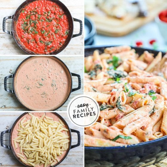 Sep by step for making Creamy Tomato Basil Pasta- 1. Combine tomatoes with spices and basil. 2. Add cream and combine. 3. Mix in cooked pasta. 4. Garnish with fresh basil.