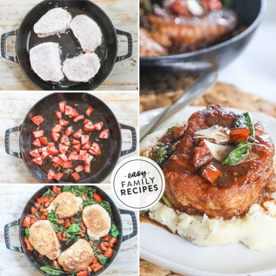 Step by step for making Tuscan Pork Chops 1. Dredge Pork Chops in flour and pan fry. 2. Add tomatoes and balsamic vinegar to skillet and cook down. 3. add back in pork chops and spinach to finish cooking. 4. Serve garnished with parmesan cheese.