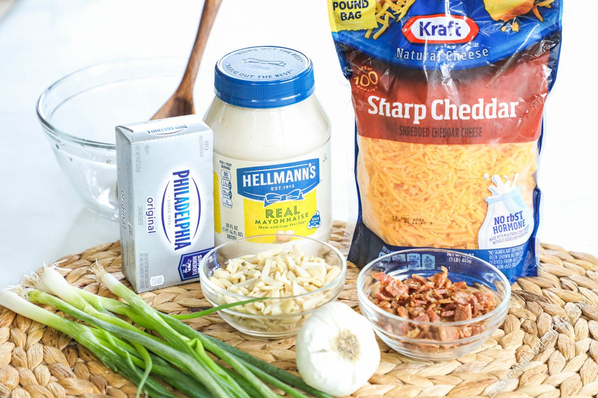 Ingredients for Million Dollar Dip: Cream Cheese, Mayonnaise, Cheddar Cheese, green onions, crispy crumbled bacon