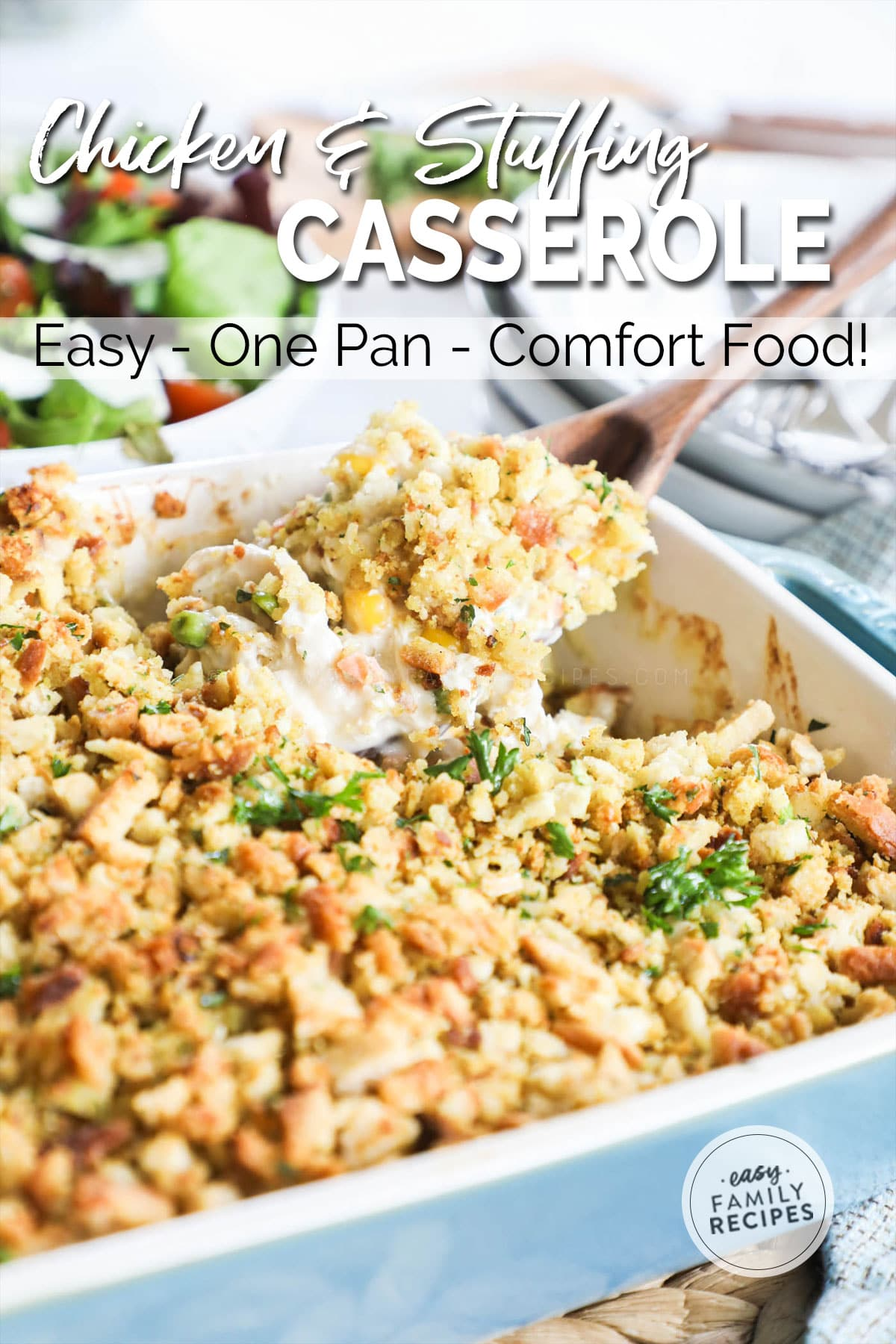 Creamy Chicken and Stuffing Casserole being served from casserole dish