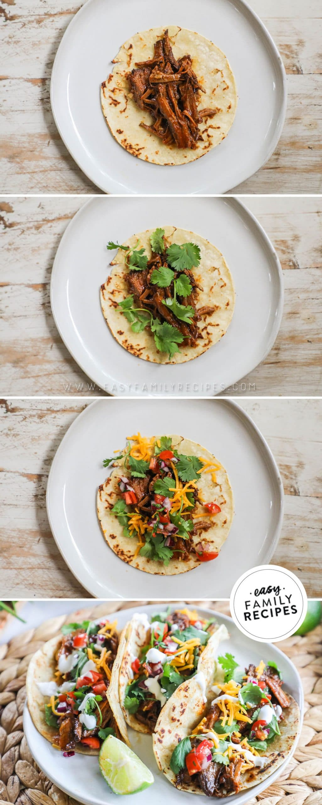 Process photos for how to make BBQ Brisket Tacos: 1. Toast tortillas in  oil and add Brisket. 2. Top taco with cilantro. 3. Finish with pico de gallo, cheese, and sour cream. 4. Fold brisket tacos and serve with lime wedges.