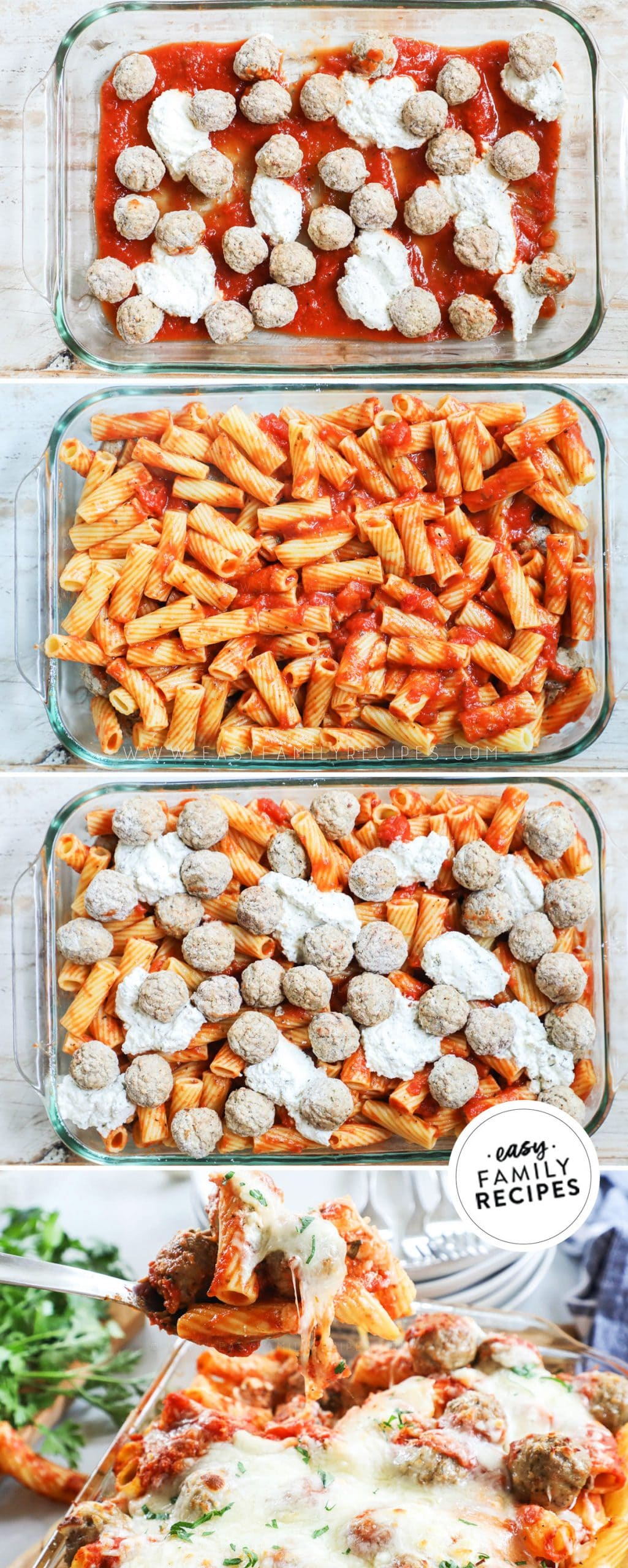 Process photos for how to make Meatball Pasta Bake Casserole1. Add sauce, meatballs, and cheese to casserole dish. 2. Mix pasta with sauce and add to casserole. 3. Top with more sauce, meatballs and cheese. 4. Bake until hot throughout.