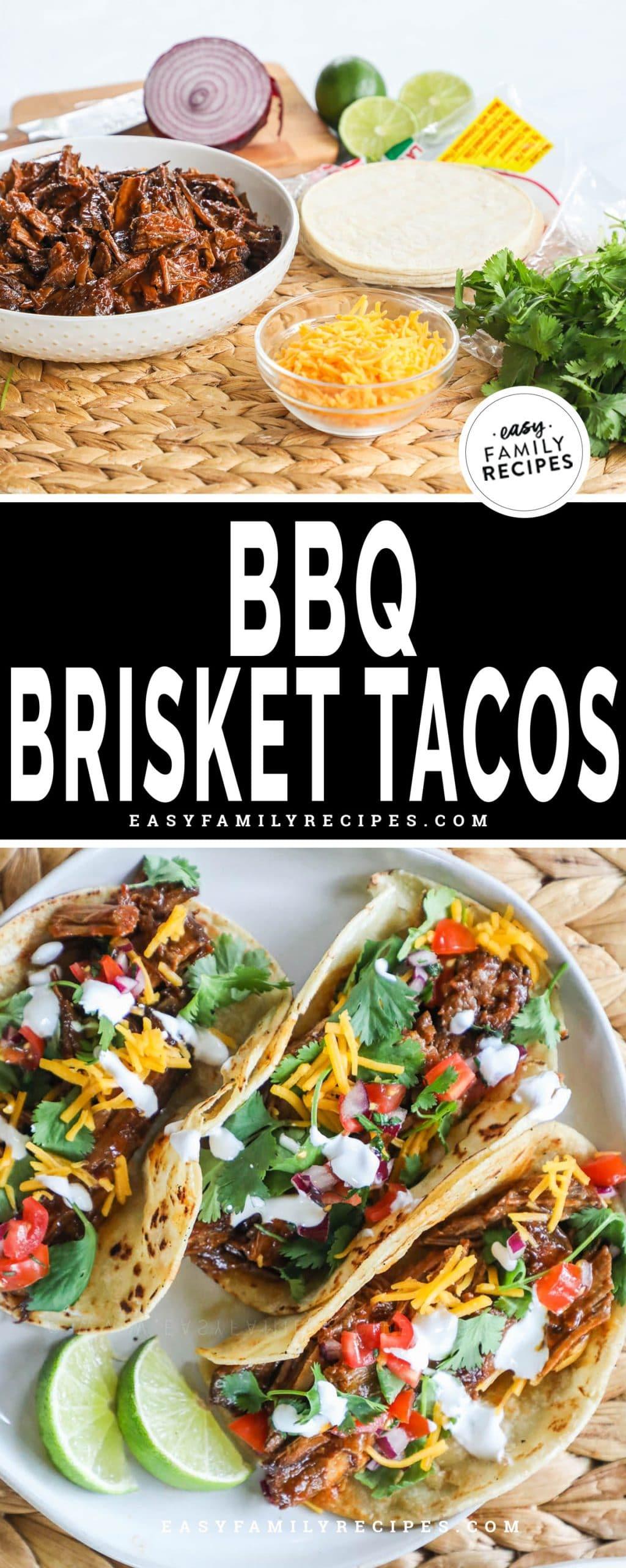 Ingredients gathered for making brisket tacos top. BBQ Brisket tacos assembled on plate bottom.