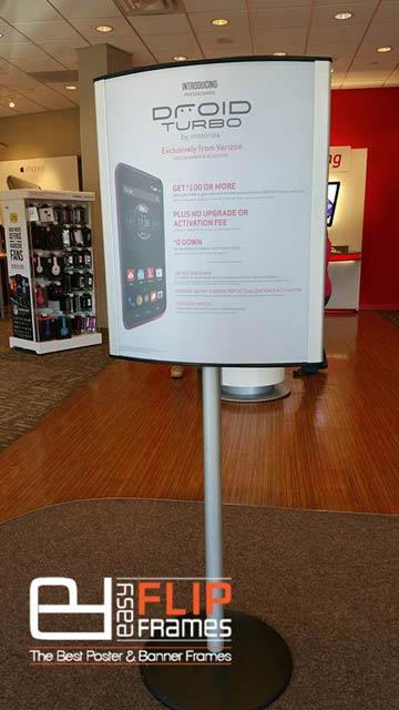 Elliptical Sign Holders - Poster Sign Holder, Verizon Store Sign Holer