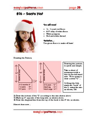 Santa Hat Pattern Easyhatpatterns Com