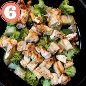 potato broccoli and chicken in skillet