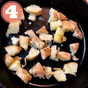 baked potato chunks in skillet