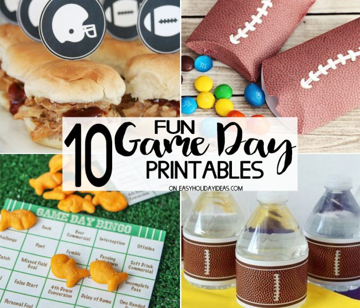 Fun Game Day Printables