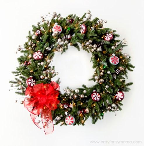 >Christmas Peppermint Wreath