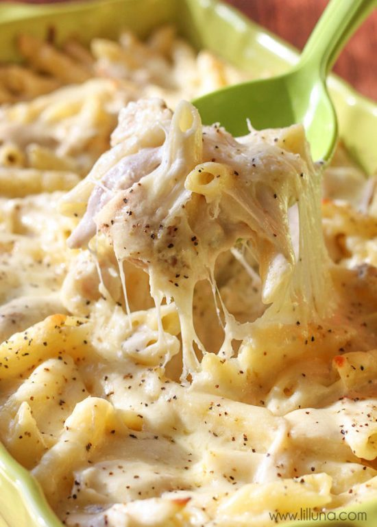 There are quite a few steps to this Alfredo Bake, but they are so easy! If you've made pasta dishes like this before, then it's all pretty standard. You can even change it up by adding some of your favorite veggies or making a non-meat version and leaving out the chicken.