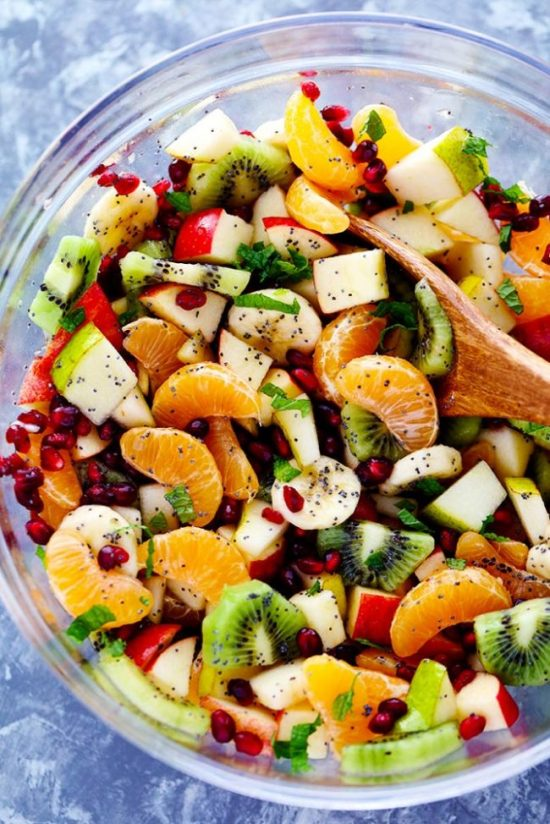 The Best Winter Fruit Saladis also great in the summer and is filled with clementines, kiwi, pears, apples, and pomegranate. It gets tossed in a delicious honey lime poppyseed dressing and you won't be able to get enough!