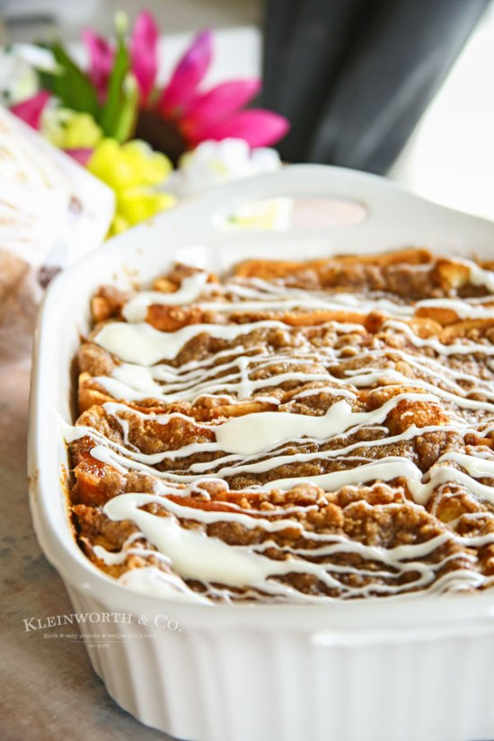 Cinnamon Roll French Toast Bake is a simple to make breakfast recipe. Just prepare the night before & refrigerate. Bake when you are ready for breakfast the next morning. Easy & delicious.