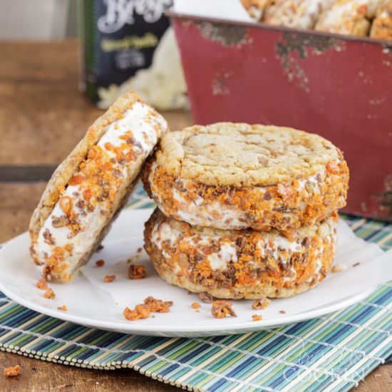 That's right… Butterfinger.  Butterfinger Ice Cream Sandwiches. You Butterfinger fans are drooling already, I can tell.