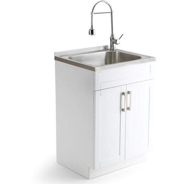 white laundry utility sink tub with