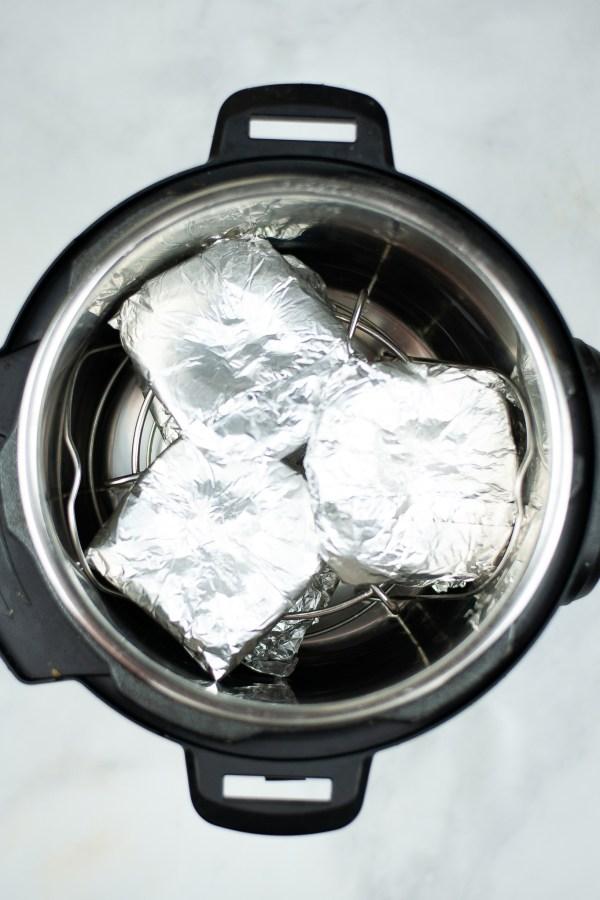 Burgers in tin foil