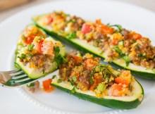 ITALIAN SAUSAGE STUFFED ZUCCHINI BOATS RECIPE - Veggie Side Dishes (VIDEO)