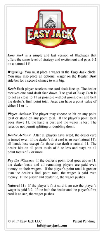 The front of a two sided paper describing the rules of EasyJack