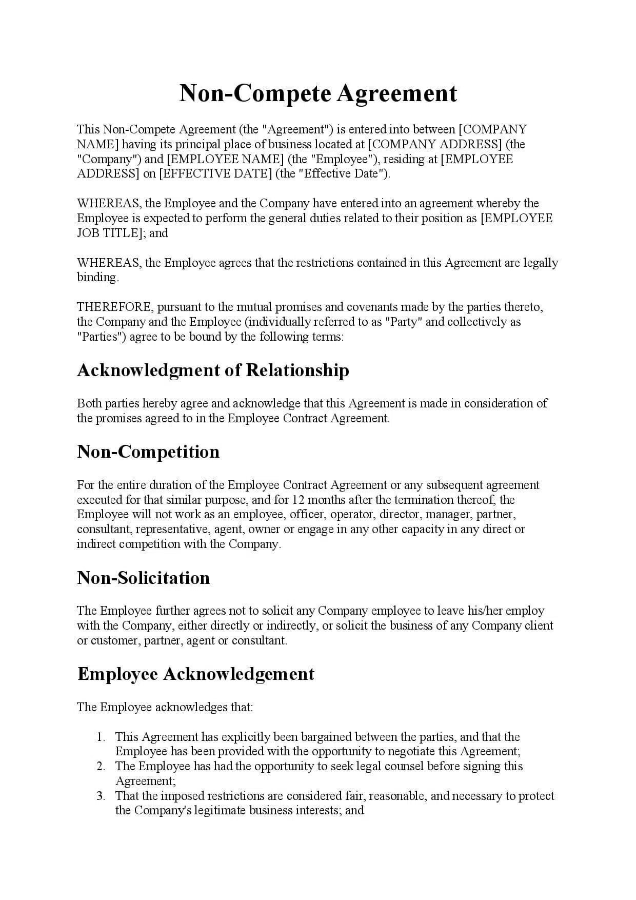Employment with company, solicited or identified as a business prospect by company. Non Compete Agreement Template Free Download Easy Legal Docs