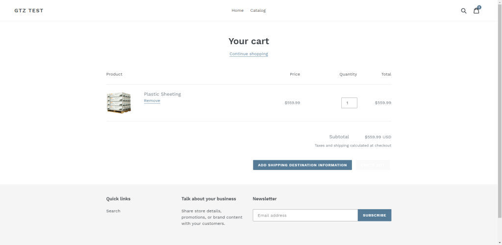 Shopify Shopping Cart Add Shipping Information