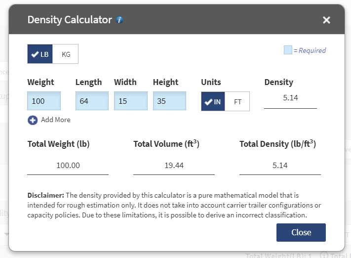 freight class density calculator