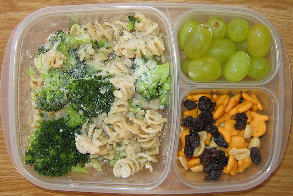 Pasta and veggies for lunch.  What's not to like?