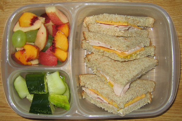 Classic turkey and cheese. Summer's beautiful fresh fruit for dessert.