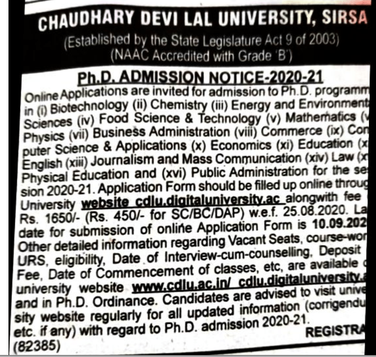 PhD Admission Notification Application form 2020