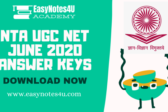 Answer Keys UGC-NET June 2020 Declared by NTA - Download Now