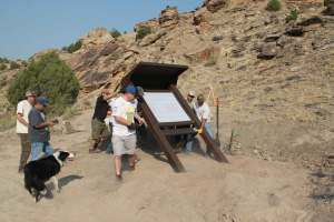 GMJC- Erecting the Tabequache Trail Kiosk at Hwy 141
