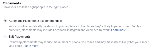 First-Facebook Ad Campaign Placements