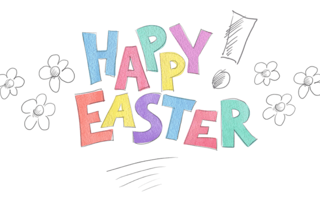 Happy Easter hand drawn 1024x599 Challenge – Make a frugal Easter Wreath with what you have