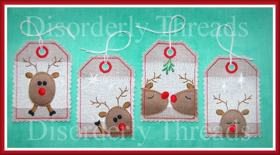 Reindeer Tags ITH Embroidery design The Most Special Free and Paid Rudolph Christmas Embroidery Designs