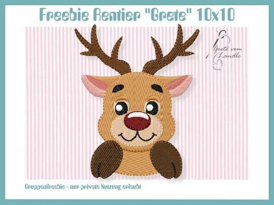 Reindeer stitch file The Most Special Free and Paid Rudolph Christmas Embroidery Designs