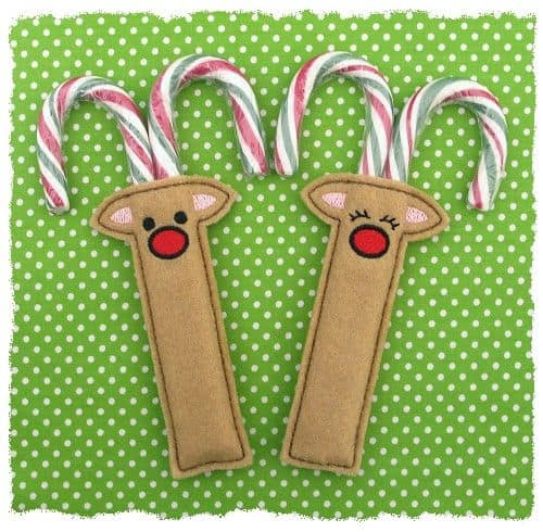 ReindeerBoyGirlCandyCaneHolder.500 The Most Special Free and Paid Rudolph Christmas Embroidery Designs