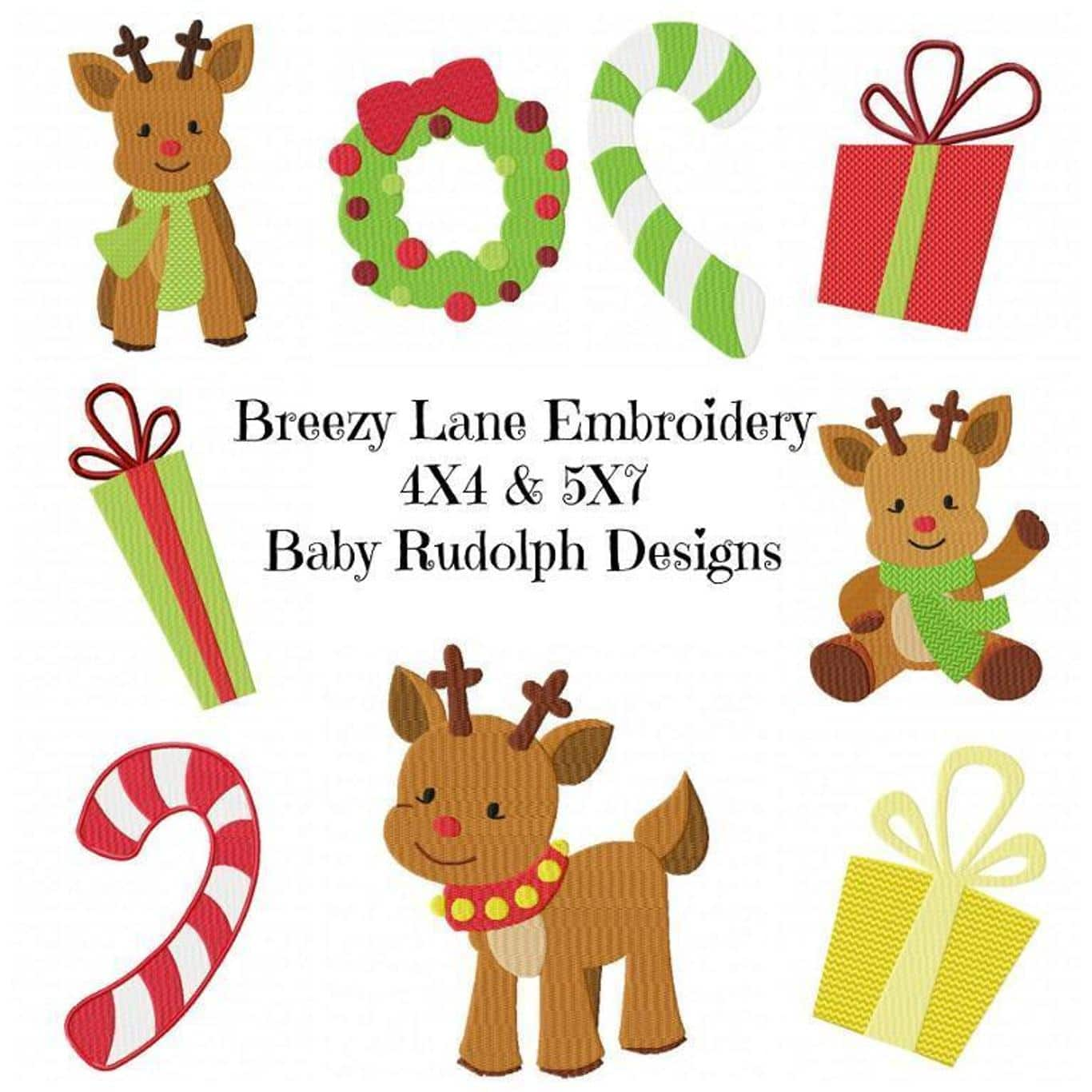 rudolphchristmasembroiderydesignset by Brezzy Lane Embroidery The Most Special Free and Paid Rudolph Christmas Embroidery Designs