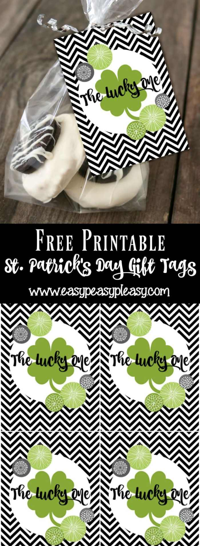 Free Printable St Patricks Day Gift Tags perfect for homemade treats and store bought sweets.