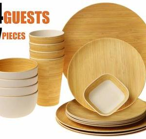 Earth's Dreams Reusable Bamboo Dinnerware Set for 4 Guest