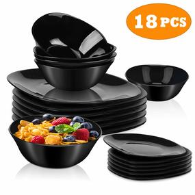 Dinnerware Set 18-piece Black Dishes Sets